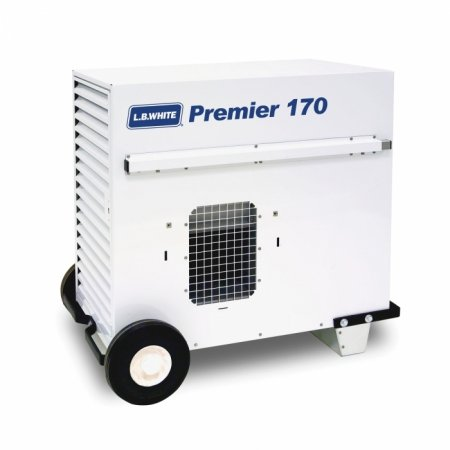 LB White Premier 170 Heater 170,000 BTUH Propane Tent Heater, LPG, 2 Stage w/ Thermostat, Hose, Regulator