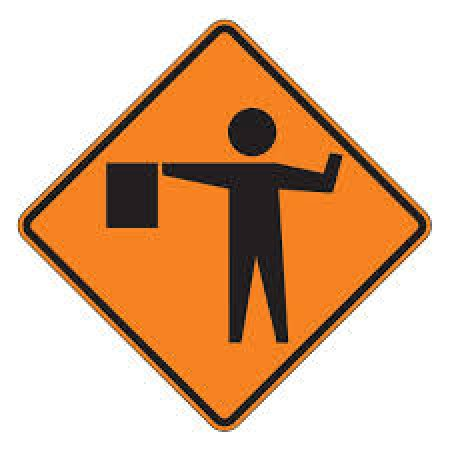 """48"""" x 48"""" Reflective Roll-up Sign - Flagger Ahead Symbol"""