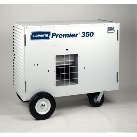 LB White Premier 350 Heater 350,000 BTUH Tent Heater, LPG, 2 Stage w/ Thermostat, Hose, Regulator