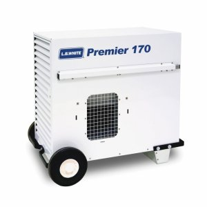 LB White Premier 170 Heater 170,000 BTUH Dual Fuel Tent Heater, LPG, 2 Stage w/ Thermostat, Hose, Regulator