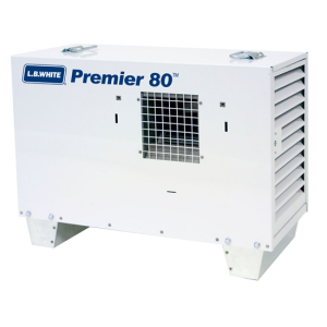 LB White Premier 80 Heater 80,000 BTUH Propane Tent Heater, LPG, 2 Stage w/ Thermostat, Hose, Regulator