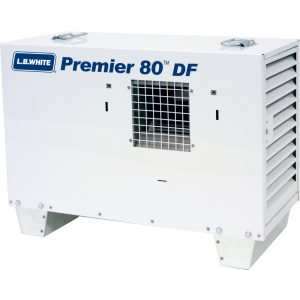 LB White Premier 80DF Heater 80,000 BTUH Dual Fuel Tent Heater, LPG/NG w/ Thermostat, Hose, Regulator