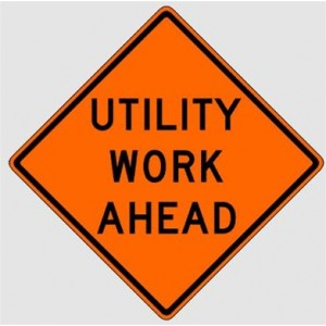 """48"""" Reflective Roll-up Sign - Utility Work Ahead"""