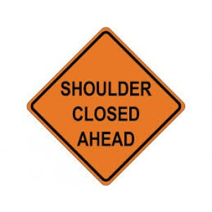 """48"""" x 48"""" Reflective Roll-up Sign - Shoulder Closed Ahead"""
